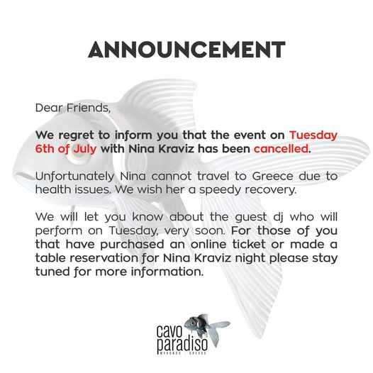 Cavo Paradiso Mykonos announcement regarding Nina Kraviz show