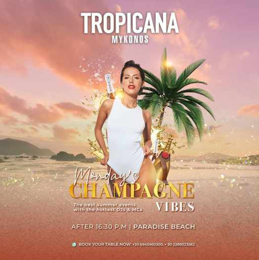 Champagne vibes party at Tropicana beach club on Mykonos