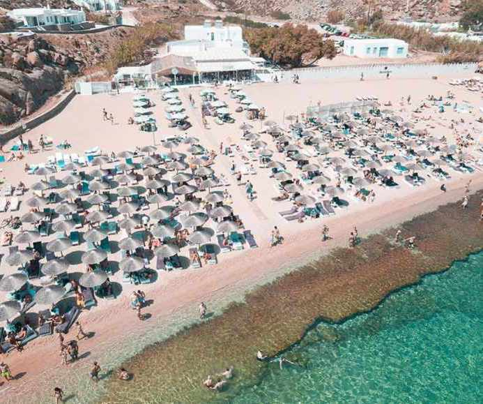 Divine Sea & More Mykonos seen in an aerial photo from the beach restaurant website