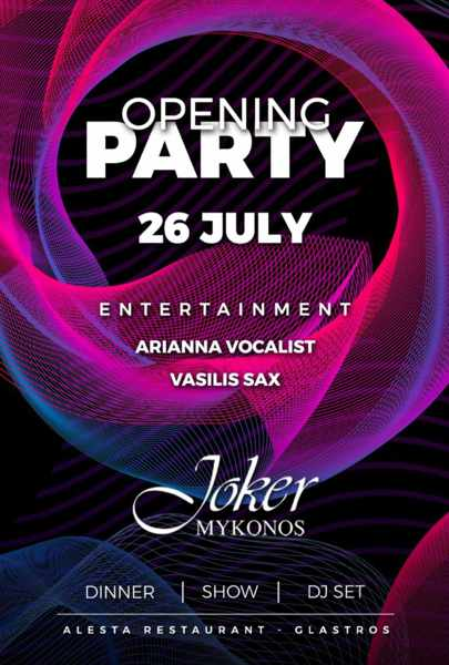 Entertainment lineup for the July 26 2021 Joker Mykonos opening party