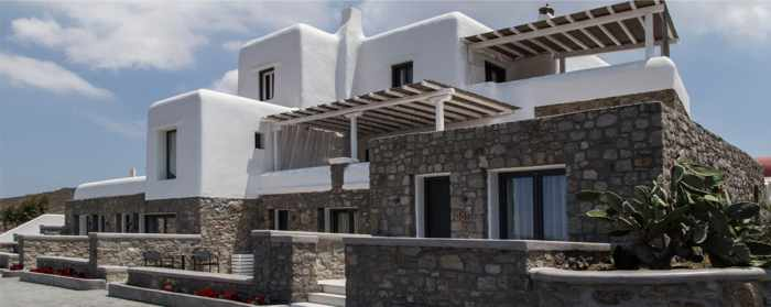Exterior view of Ftelia Bay Hotel on Mykonos