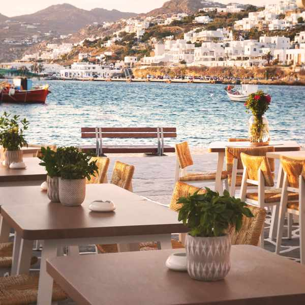 Harbourfront dining patio at Bouboulo restaurant in Mykonos Town
