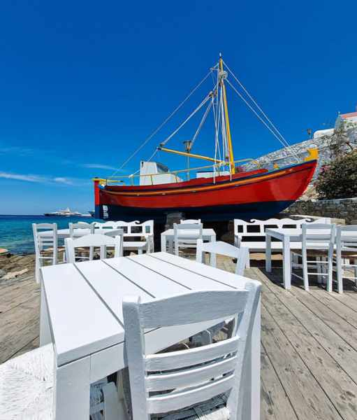 Baboulas Ouzeri on the harbourfront in Mykonos Town