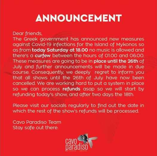 July 17 2021 announcement by Cavo Paradiso club Mykonos concerning Mykonos lockdown measures