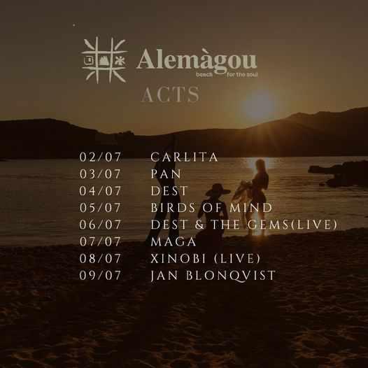Alemagou beach club Mykonos events July 2 to 9 2021