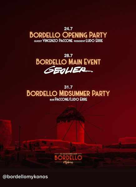 July 2021 dinner party events being held by Bordello Mykonos