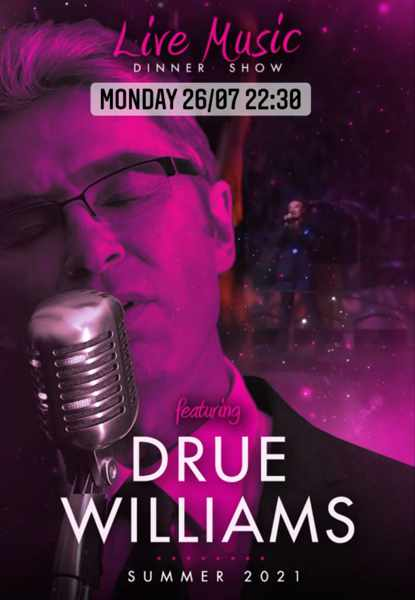 live music by Drue Williams at Pinky Beach Club on Mykonos