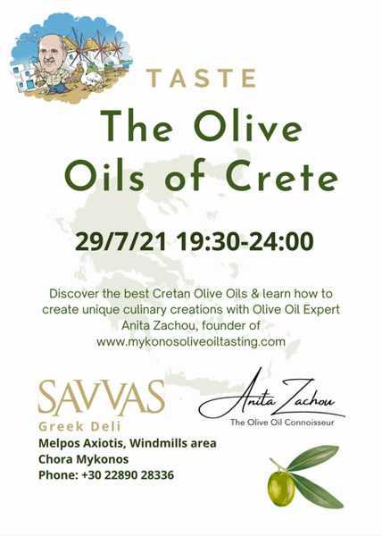 July 29 2021 Crete olive oil tasting session at Savvas Greek Deli on Mykonos