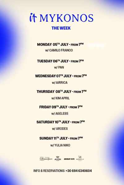 July 5 to 11 2021 DJ lineup for IT Mykonos