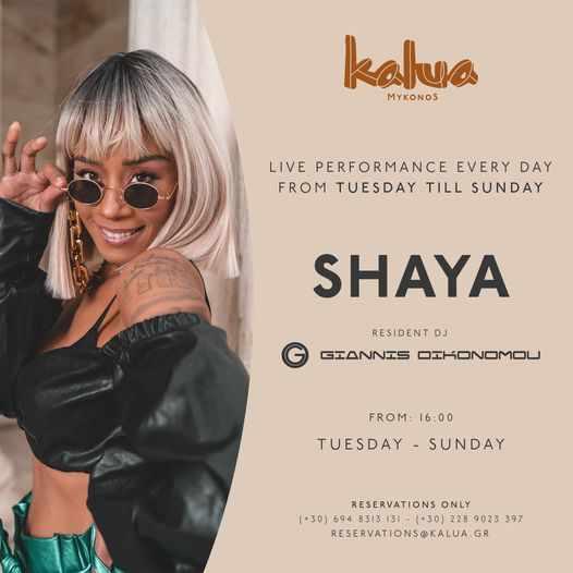 Kalua Mykonos presents singer Shaya during summer 2021
