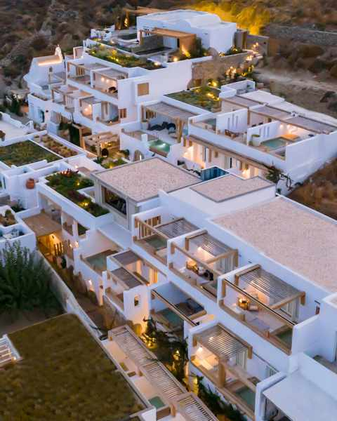 Kensho Psarou Mykonos seen in an aerial image from the hotels social media pages