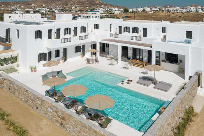 Aerial view of Koukoumi Hotel on Mykonos