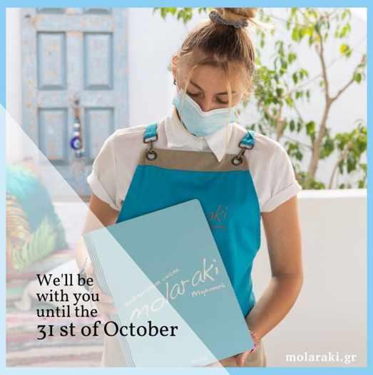 Molaraki restaurant Mykonos season closing announcement