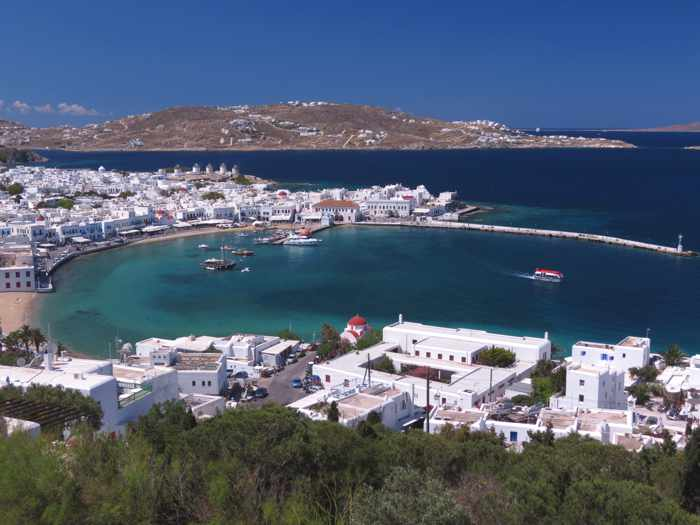 Mykonos Town and the  town harbour