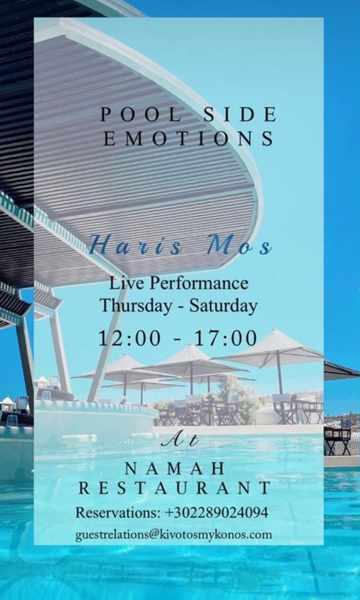 Namah Restaurant at Kivotos Hotel on Mykonos presents live music entertainment by singer Haris Mos