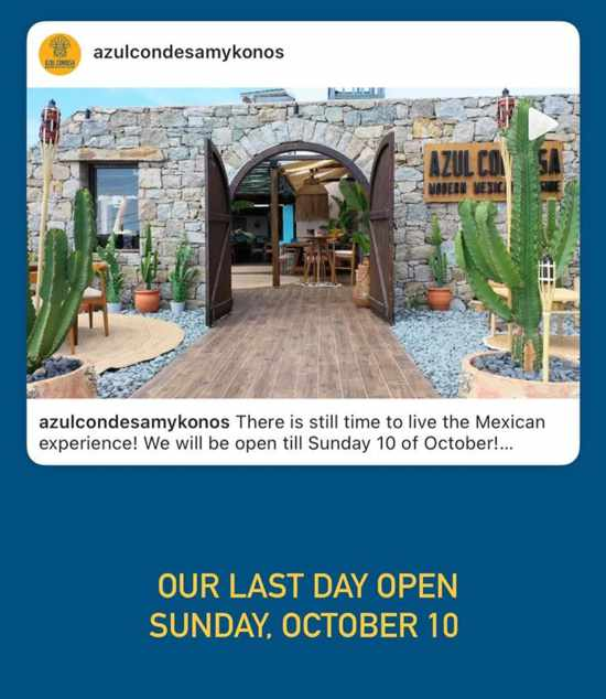 October 10 2021 Azul Condesa Mykonos restaurant season closing