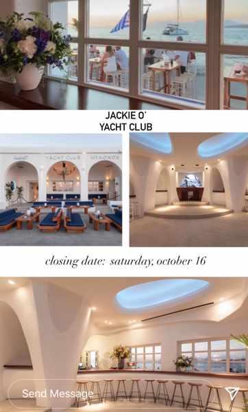 October 16 2021 JackieO Yacht Club on Mykonos season closing announcement