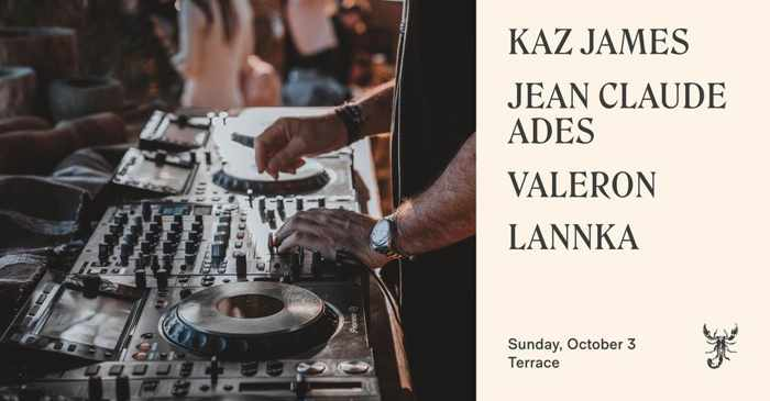 October 3 2021 Scorpios Mykonos closing event with Kaz James Jean Claude Ades Valeron and Lannka