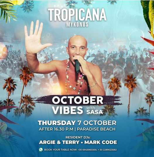 October 7 2021 Sasa hosts October Vibes party at Tropicana Mykonos