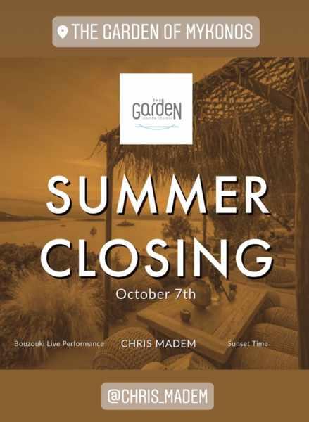October 7 2021 The Garden of Mykonos season closing announcement