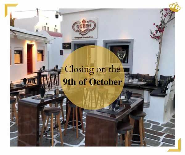 October 9 2021 Queen of Mykonos champagne & cocktail bar season closing