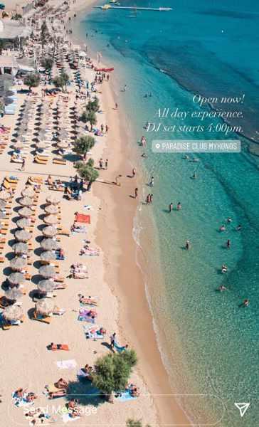 Paradise Club Mykonos aerial photo from the beach club page on social media