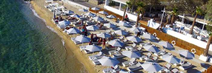 Pinky Beach club at Agia Anna Paraga on Mykonos