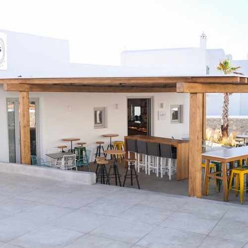 Street view of Platis Bakery at Platis Gialos Mykonos