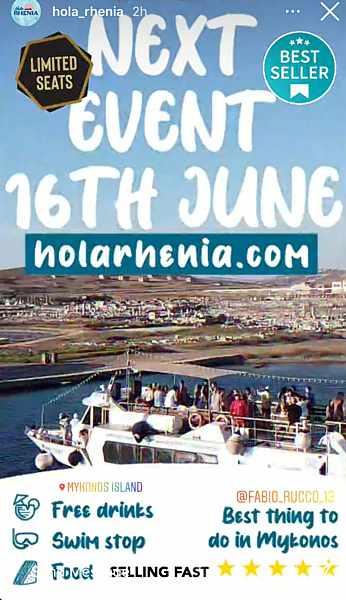 Hola Rhenia boat tours on Mykonos