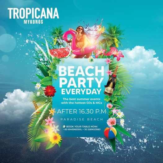 Tropicana Mykonos daily beach parties during 2021