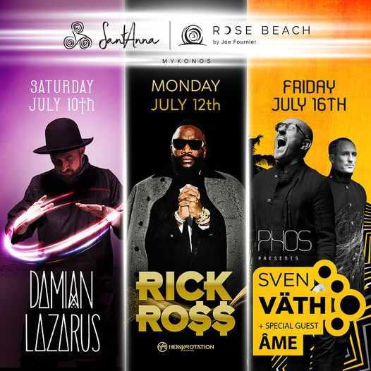 Music events at SantAnna beach club Mykonos July 10 to 16