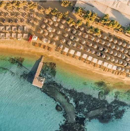 SantAnna beach club on Mykonos seen in an aerial image from its social media pages
