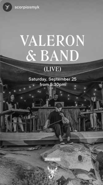 Scorpios Mykonos presents Valeron & Band on SAturday September 25