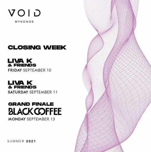 September 10 11 and 13 closing week parties at Void club Mykonos