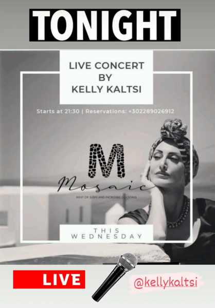 September 15 2021 Mosaic restaurant Mykonos presents singer Kelly Kaltsi