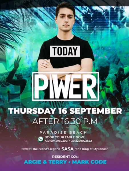 September 16 2021 Tropicana Mykonos presents Piwer
