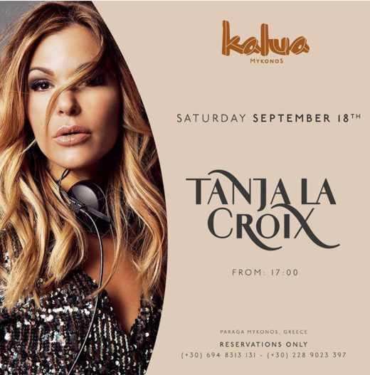 September 18 2021 Kalua Mykonos presents DJ Tanja La Croix