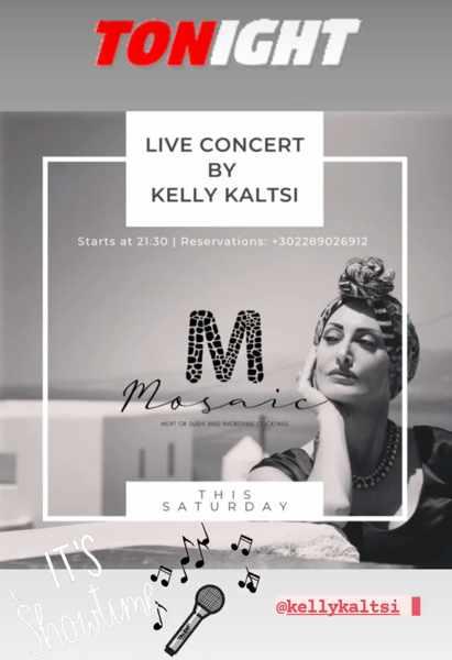 September 18 2021 Singer Kelly Kaltsi performing at Mosaic restaurant on Mykonos
