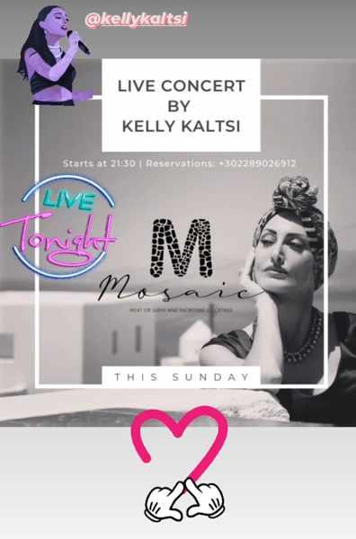 September 19 2021 Mosaic restaurant on Mykonos presents singer Kelly Kaltsi