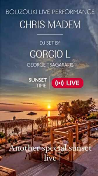 September 20 2021 Sunset performance by Chris Madem and DJ Gorgio L at The Garden of Mykonos