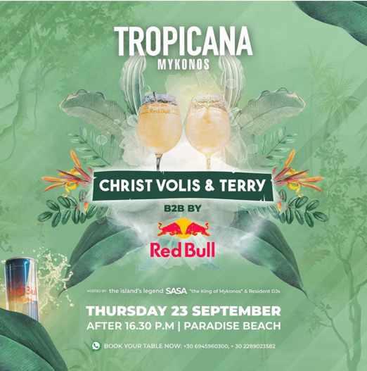 September 23 2021 Tropicana Mykonos presents DJs Christ Volis and Terry