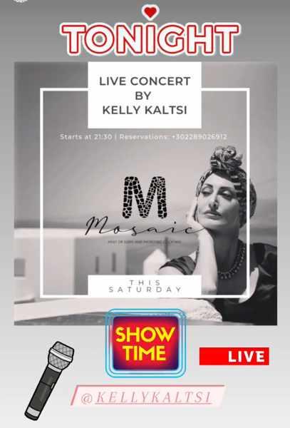 September 25 2021 Mosaic restaurant Mykonos presents singer Kelly Kaltsi