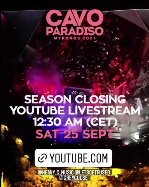 September 25 2021 livestream of the season closing party at Cavo Paradiso Mykonos