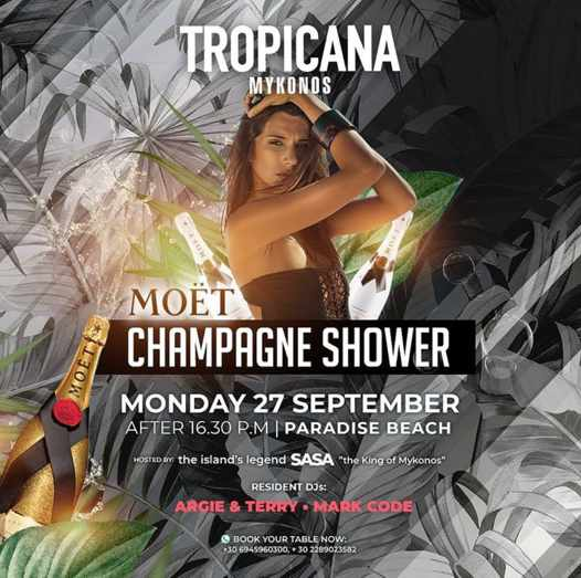 September 27 2021 Tropicana Mykonos champagne shower party