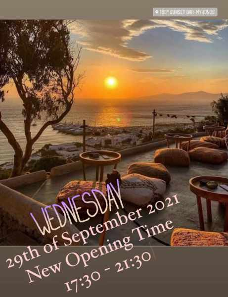 September 30 2021 180 Sunset Bar Mykonos new hours of operation