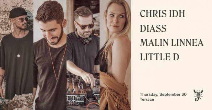 September 30 2021 Scorpios Mykonos presents Chris IDH Diass Malin Linnea and Little D