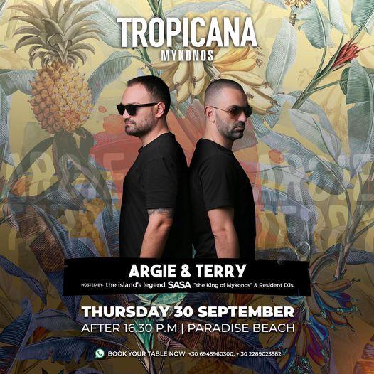 September 30 2021 Tropicana Mykonos presents DJs ARgie & Terry