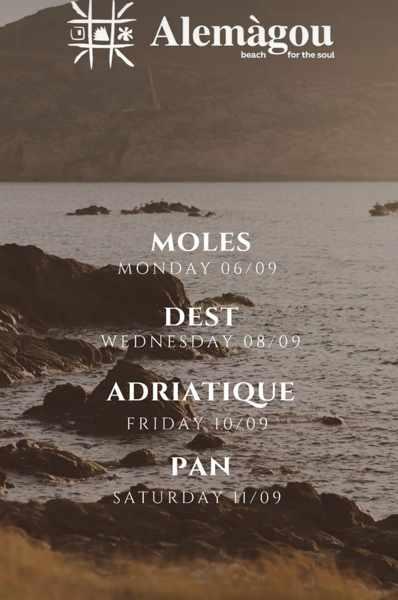 September 6 to 11 2021 DJ lineup at Alemagou beach club on Mykonos