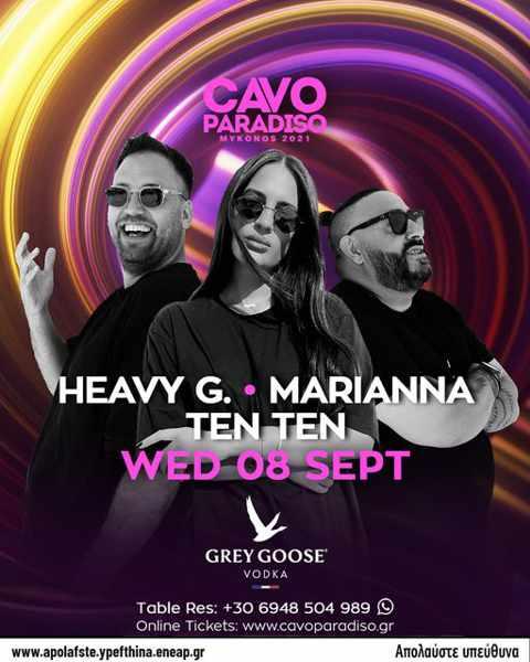 September 8 2021 DJ lineup at Cavo Paradiso Mykonos