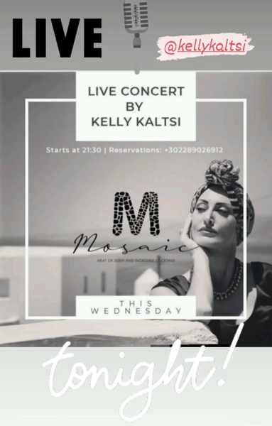 September 8 2021 Mosaic restaurant Mykonos presents singer Kelly Kaltsi